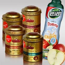 Набор 4 Luxury Leaf Tea + 1 яблочный сироп от Teisseire