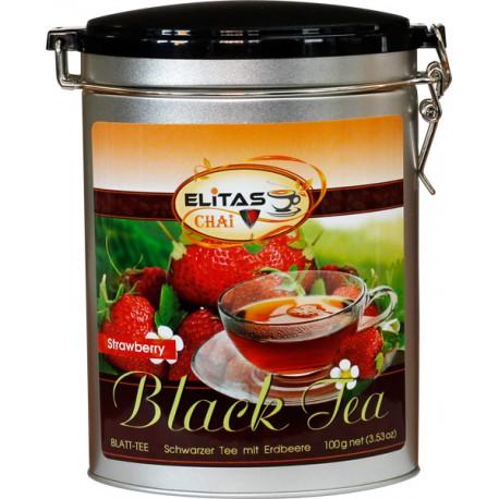 Клубника - крупнолистовой цейлонский черный чай с добавлением сушеных кусочков клубники, манго и других фруктов - Elitas CHAI, ж