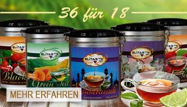 36 Dosen von Elitas CHAI Schwarz- oder Grüntee bestellen - 50% Rabatt darauf erhalten!